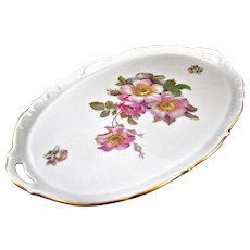 "Vintage Schumann Bavaria 'Brier Rose"" Oval Platter Tray, 16 ½ """