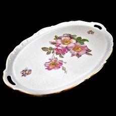 """Vintage Schumann Bavaria 'Brier Rose"""" Oval Platter Tray, 16 ½ """""""