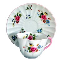 Shelley Cup and Saucer in the Dainty Red Pattern