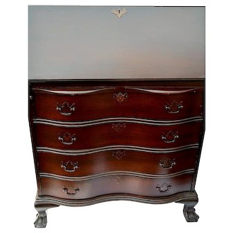 Solid Mahogany Slant Front Desk Chippendale Style