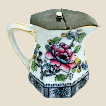 Staffordshire Keeling & Co., Burslem Losol Ware Porcelain Milk Jug Pewter Lid
