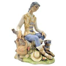 Tengra Hand Made Spain Statue with Mahogany Base.