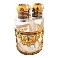 Antique Perfume Bottle Set in an Ormolu Caddie