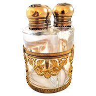 Antique Perfume Bottle Set in an Ormolu Caddie