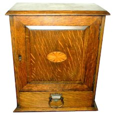 Tiger Oak Humidor with Marquetry Design