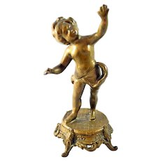 Victorian Cherub Gold Gilt Pocket Watch Holder