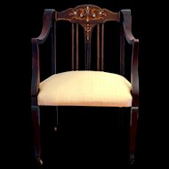 Victorian Mahogany Armchair with Marquetry 1880