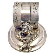 Victorian Meriden Silver Plate Napkin Ring Cherub/Angel