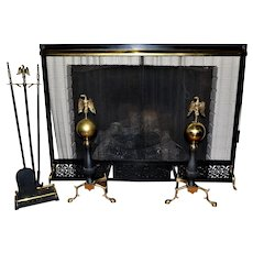 Vintage Fireplace Set Screen Andirons Tools Eagle Top