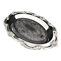 Vintage Wallace Chippendale Silver Plated Oval Tray Etched 17""