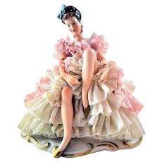 Dresden figurine Porcelain Wilhelm Rittirsch Sitting Lady