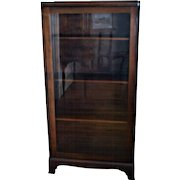 Mahogany Bookcase Single Glass Door with Two Shelves
