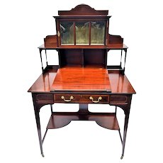 Mahogany Desk One Door Curio Cabinet