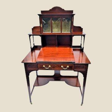 Mahogany Desk One Door Curio Cabinet