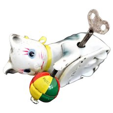 Vintage Wind up Tin Toy - Tumbling Cat with Ball – Japan