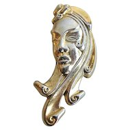 Vintage Sterling Retro Portrait of a Woman 1940's  Brooch