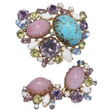 Hobe' Easter  Demi Parure Set Brooch and Earrings