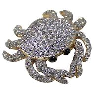 Crab Figural Brooch Swarovski Swan Logo