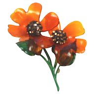 vintage lucite Double Flower Large Brooch
