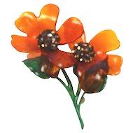 vintage lucite Double Flower Large Brooch