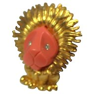 Boucher Lion Figural Faux Coral Face Brooch