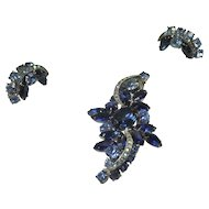 Vintage Royal Blue Sapphire,Lt. Blue Chaton Brooch/Earrings Set