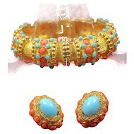 Kenneth Jay Lane Clamper Bracelet Matching Earring Set