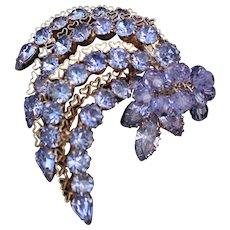 Kramer Lavender Rhinestones with Heart Design filligree setting Matching Earrings