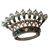 TRIFARI Figural Sterling Crown Pat# 140779 Brooch