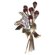 Art Deco Floral  Ruby  Bouquet Brooch