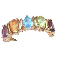 Sterling Vermeil 925 Ring Geniune Gem Stones