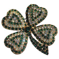 St. Patrick Day Four Heart Shape  Clover's Brooch