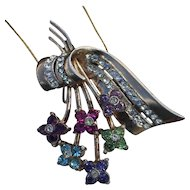 Coro Pegasus Sterling  Floral Spray Swarovski  Pendant Slide and Brooch
