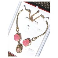 Selro Asian Women Princess with Lucite Pink Moon-glow Themostat Faux Pearl Princess Neacklace