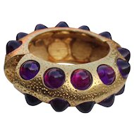 K.J.L.1960's Bold Massive Hammered Pitted Metal Clamper with Lucite Purple Bullet Inlay Inserted.