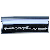 Sterling Silver Figural Runnig Horse Heavy Byzantine Bracelet