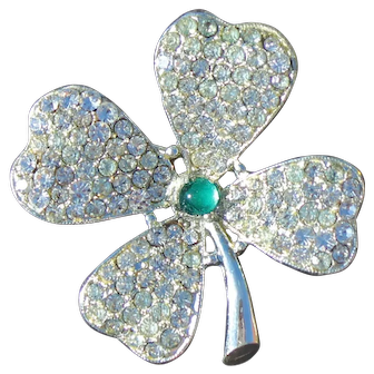 St. Patrick Day Four Leaf  Clover's Pave Brooch