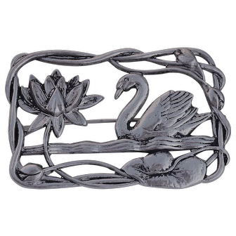 "Sterling Silver ""Lang"" Figural Swan in Lake Brooch"