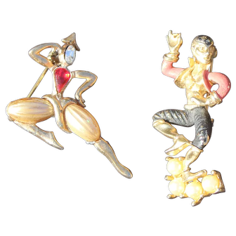 Asian Dance Couple Brooches