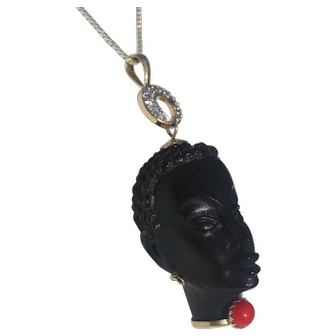 Vintage Blackamoor Female  Ebony Carved  with 14kt. Bail Diamonds and Corletto prong set in 10 kt. Made in Italy with 14KT Gold Chain Pendant