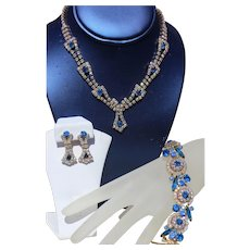 Juliana DeLizza and Ester Electra Blue Link Bracelet and Necklace with Earrings