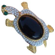 Kenneth Lane KJL Figural Large Tortoise, Turtle Brooch