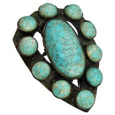 Czech Fur Clip Fillagree base Metal with Turquoise Cabochon's