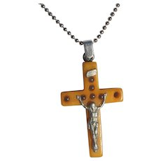 Religious Bakelite Butterscotch Crucifix with Six Sorrows of Mother Mary. Sterling Silver Bail With S/S Ball Chain Pendant