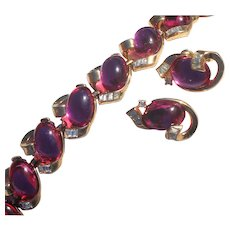 TRIFARI  Fuschia Jelly Belly Glass Oval Cabochons with Crystal Clear Bagettes. Swirl Designed Bracelet Set