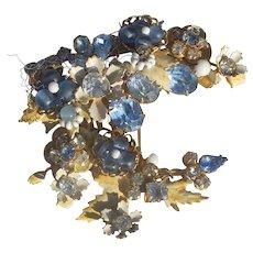 Original Robert Crescent Moon Enameled,Seed Beads, Rhinestones, Filiagree Brooch