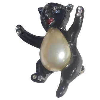 Vintage Enameled Black  Baby Bear with Faux Pearl Jelly Belly Brooch