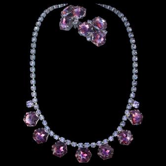 Vintage Fabulous Hexagon Rhinestones Necklace Matching Earrings