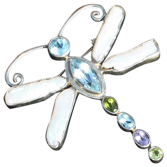 """Sterling Gem Stones Dragonfly Pendant, Brooch """"One of a Kind""""  by StarBorn"""