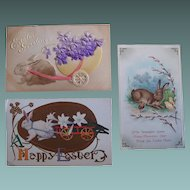 Easter Postcards Rabbits Antique Lot of 3